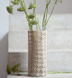 crochet,  i think this would be an awesome idea to make one to go half way up an old blue mason jar for flowers!