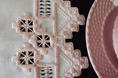 Hardanger Embroidery Doily Centerpiece - Light Peach and Cream - Victorian