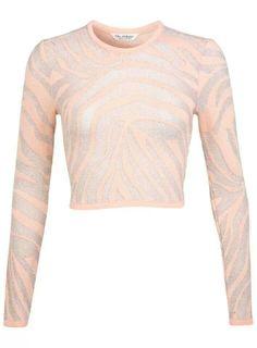 Love this pastel peach an silver zebra print croped sweater