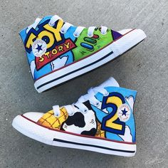 The information below will teach you how to bring home the best toys and get them at a great price. Disney Painted Shoes, Custom Painted Shoes, Hand Painted Shoes, Custom Shoes, 2nd Birthday Party Themes, Toy Story Birthday, Baby Birthday, Birthday Ideas, Toy Story Baby