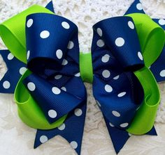 Items similar to Lime and Royal Blue with white polka dot double spikey boutique bow on Etsy Ribbon Hair Bows, Diy Hair Bows, Diy Bow, Ribbon Flower, Fabric Flowers, Barrettes, Hairbows, Hair Bow Tutorial, Flower Tutorial