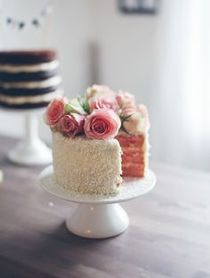 Pink Cake topped with Fresh Roses, on Craftsy