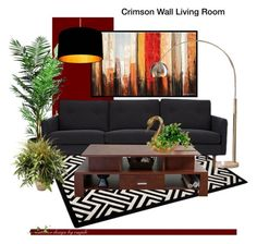 """""""Crimson Wall"""" by emjule ❤ liked on Polyvore featuring interior, interiors, interior design, home, home decor, interior decorating, Ren-Wil, Laura Ashley, Ink & Ivy and Nearly Natural"""