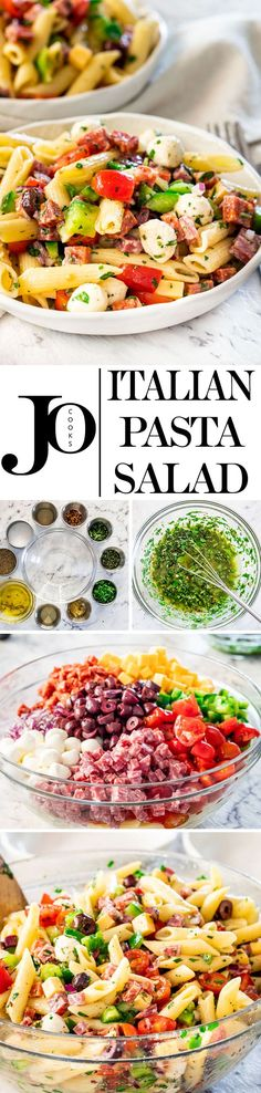 This Italian Pasta Salad is what everyone needs in their go-to recipe arsenal for quick and easy recipes ideal for a potluck, picnic or any other summer get-togethers. It's healthy, it's fast, super easy to make, delicious and bursting with flavor. #italianpastasalad via @jocooks