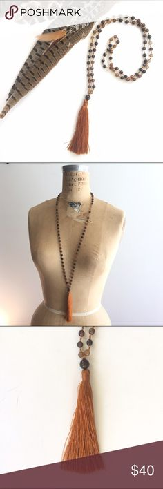 """""""Terra"""" Genuine Stone Silk Tassel Mala Necklace Beautiful precious stone and silk necklace. Hand tied between each bead with silk tassel. Approx 22"""" long when worn. Blessed and made in Bali. Not Free People- but FP vibe Free People Jewelry Necklaces"""