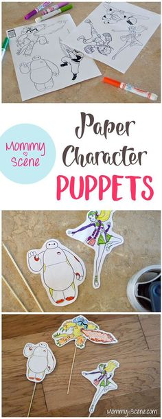 Paper character puppets are a fun project to beat the heat! Kids will have a blast making homemade paper puppets out of their favorite characters - Mommy Scene