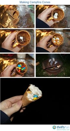 This is a guide about making campfire cones. Try these candy filled ice cream cones at your next camp-out or backyard campfire.