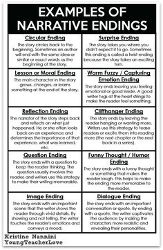 Narrative Endings FREE! Writing Narrative Endings Printable anchor chart- Young Teacher Love by Kristine NanniniFREE! Writing Narrative Endings Printable anchor chart- Young Teacher Love by Kristine Nannini Book Writing Tips, English Writing Skills, Writing Lessons, Writing Workshop, Writing Resources, Teaching Writing, Academic Writing, Writing Services, Writing Help