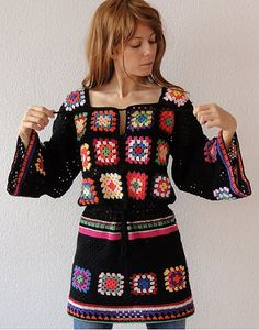 Crochet granny square dress tunic hippie jumper sweater cardigan patchwork retro glamour - flower power vintage look - handmade crochet design - made to order Crochet Squares, Crochet Granny, Knit Crochet, Granny Squares, Fabric Squares, Crochet Cardigan, Hand Crochet, Knit Dress, Crochet Designs