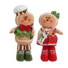 "RAZ Gingerbread Man Christmas Ornament Set of 2  2 Assorted Gingerbread Ornaments Set includes Boy and Girl Tan/Red/Green Made of Polyester Measures 13.5"", 12.5"" Not Intended for"