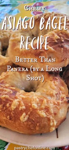 Asiago bagels are chewy and brimming with cheese. If you love a big Panera bagel, you'll really love this Panera copycat version of their most popular flavor. Make your own homemade asiago bagels and wow your family! Asiago Cheese Bagel Recipe, Cheese Bagels, Panera Bread Bagel Recipe, Brunch Recipes, Breakfast Recipes, Breakfast Dishes, Kitchens, Play Dough