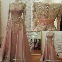 Modest Long Sleeve Blush Pink Prom Dresses Evening Wear Lace Appliques Crystal Abiye Dubai Evening Gowns Caftan Muslim Party Dress 2018 Sexy Dresses Cheap Black Evening Dress From Earlybirdno1, $279.09| Dhgate.Com