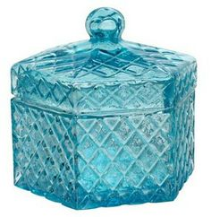 Glass Canister - Blue Glass Canisters, Candy Dishes, Decorative Boxes, House Ideas, Indoor, Blue, Home Decor, Interior, Decoration Home