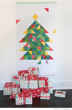 the red thread Paint Chip Christmas Tree