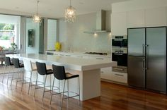 modern kitchen with breakfast bar - Google Search