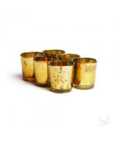 Antique Votive Candle Holder (Set Of 6) - Gold