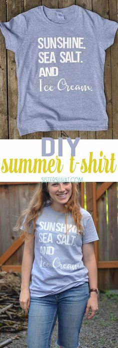 the perfect summer t - make your own summer t shirt using heat transfer vinyl letters (no cutting machine needed). Perfect beach shirt