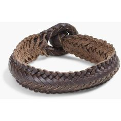 Lucky Brand Woven Leather Bracelet ($35) ❤ liked on Polyvore featuring men's fashion, men's jewelry, men's bracelets, medium dark yellow and mens leather braided bracelets
