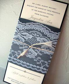 lace wrapped belly band wedding invitation wedding invitations, lace wrap