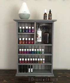 Essential Oil Storage Shelf  This cabinet is the perfect way to display your Essential Oils while keeping them safe and organized. Our design