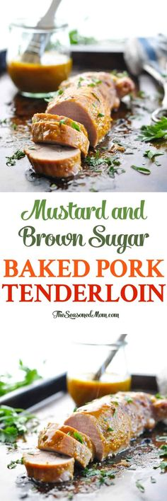 You just need 5 ingredients and 5 minutes of prep for this easy and healthy Mustard and Brown Sugar Baked Pork Tenderloin! Healthy Chicken Recipes, Pork Recipes, Easy Dinner Recipes, Healthy Dinner Recipes, Easy Meals, Cooking Recipes, Recipies, Healthy Food, Yummy Food