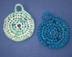 Two Plarn Dish Scrubbies turquoise and aqua blue by plarnstar