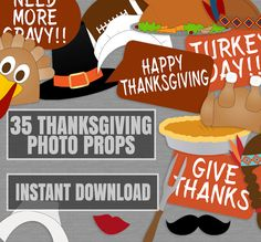 35 Thanksgiving Printable Photo Props, Printable turkey day photo booth Props…