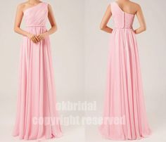 Pink Dress, Bridesmaid Dress, Chiffon Dress, One Shoulder Dress, Cheap Dress, Pink Chiffon Dress, Cheap Bridesmaid Dress