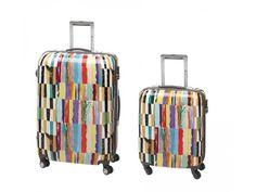 Sada dvou skořepinových zavazadel s výrazným motivem