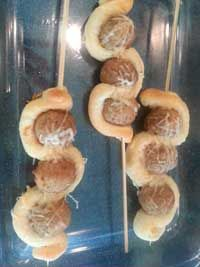 Meatball Sparklers  1 lb. lean ground turkey 1/2 cup whole wheat bread crumbs 1/2 cup grated parmesan cheese 1 Tbsp. oregano 1 Tbsp. basil 1 Tbsp. parsley 1/2 tsp. crushed red pepper 2 cloves garlic minced 1 can Pillsbury breadstick Original 1cup shredded mozzarella cheese  Click Here for the complete recipe:  http://www.q99fm.com/BreakfastClub/FDT2014.aspx