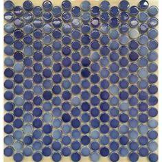 "Penny Round Tile Sea Blue Porcelain Floor Tiles 3/5"" Ceramic Mosaic Backsplash"
