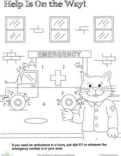 Worksheets: Ambulance Dot to Dot