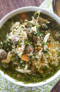 A classic Italian wedding soup recipe, with little bits of pasta, shredded chicken, spinach and of course those little meatballs! I might add some egg to the recipe, but this was AWESOME! Italian Wedding Soup Recipe, Italian Soup, Italian Recipes, Italian Foods, Italian Pasta, Italian Cooking, Italian Dishes, Pasta Recipes, Soup Recipes