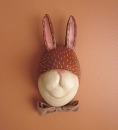 Primitive Mr Rabbit Wall Hanging Mask Animal Head por mamagourds, $48.00