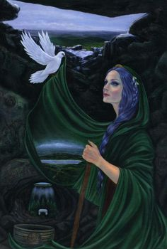 Cailleach Bheur's themes are balance, cycles, rebirth, overcoming and winter. Her symbols are snow and blue items. In Scottish traditions, this is a blue faced crone Goddess who blusters with power throughout the winter months. She brings the snow and cold until the wheel of time turns toward spring on Beltane (May Day).