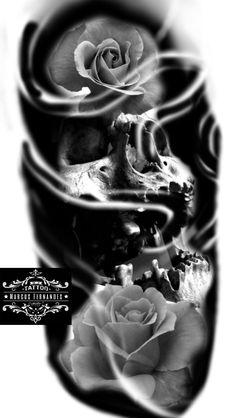 Tatto Skull, Skull Rose Tattoos, Rose Tattoos For Men, Skull Art, Body Art Tattoos, Sleeve Tattoos, New Tattoos, Brust Tattoo, Dibujos Tattoo