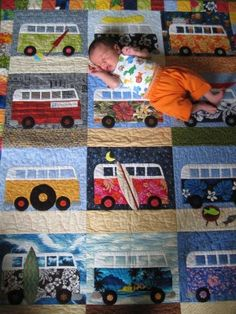 """Love this Volkswagen bus quilt - so creative! BBC Boracay says: """" Even our kids would love it. Cute Quilts, Boy Quilts, Quilt Baby, Quilting Projects, Sewing Projects, Quilting Ideas, Vw T1, Volkswagen Bus, Volkswagen Beetles"""