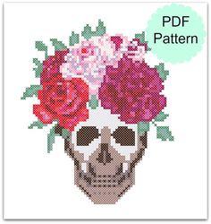 Skull with Flower Crown Cross Stitch Pattern PDF  Modern