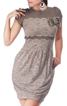 Taupe Lace Dress - this is a really flattering cut and design!