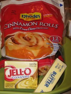 'Can't Miss' Cinnamon Rolls -- Frozen Rhodes + box vanilla pudding + stick butter/margarine TRULY AN AMAZING CINNAMON ROLL. My family wiped out 2 Can also do this with regular rolls and add cinnamon to the butter & pudding. Rise and bake in a bundt pan. Pastas Recipes, Snack Recipes, Dessert Recipes, Cooking Recipes, Recipies, Snacks, Bread Recipes, Brunch Recipes, Cake Recipes