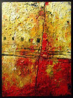 Small memories... doodles, Oil on Cardboard, 2016 by Marko Davidoff #art #abstractart #minimal #red #sunset #texture