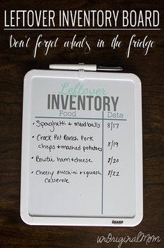 A simple way to help keep the fridge organized (and to know what's in it) - a leftover inventory white board! #silhouette #vinyl #organization