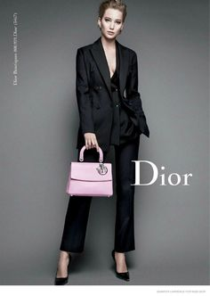 black pantsuit x be dior #bag :: Jennifer Lawrence for Miss Dior Fall 2014 Ad Campaign