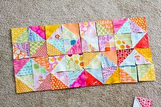 Squares on Point from blog:  In Color Order: Warm Cool Quilt Along - Piecing the Top