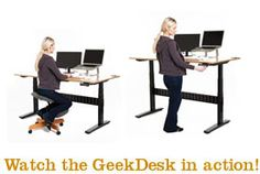 GeekDesk | Work sitting OR standing! The benefits span from health to productivity & are immediately noticeable.