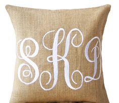 Burlap Monogram Pillows Custom Monogram Pillow by AmoreBeaute