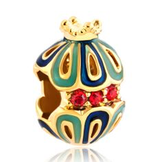 Charms Beads - snow white king crown filigree faberge egg fit all brands two tone plated beads charms bracelets Image.