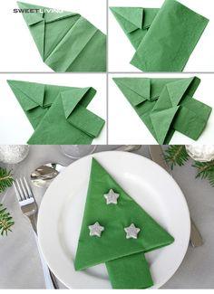 Christmas Origami Napkin 75 Cool Napkin Folding Ideas For Your Ne. Christmas Tree Napkin Fold, Photo Christmas Tree, Christmas Napkins, Christmas Origami, Christmas Tree Crafts, Simple Christmas, Christmas Time, Xmas Tree, Christmas Photos