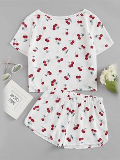 Shop Cherry Print Top And Shorts Pajama Set online. SheIn offers Cherry Print Top And Shorts Pajama Set & more to fit your fashionable needs. - Pajama Sets - Ideas of Pajama Sets Cute Pajama Sets, Cute Pjs, Cute Pajamas, Summer Outfits, Girl Outfits, Cute Outfits, Fashion Outfits, Gothic Fashion, Beautiful Outfits