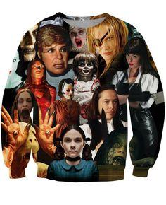 Horror Scary Movie Serial Killer Combination Evil Lady Trendy Sweatshirt  #Horror #Scary #Movie #Serial #Killer #Combination #Evil #Lady #Trendy #Sweatshirt